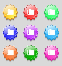 Document folder icon sign symbol on nine wavy vector image vector image