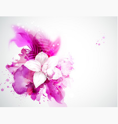 light blooming orchid and palm leaves on the vector image vector image