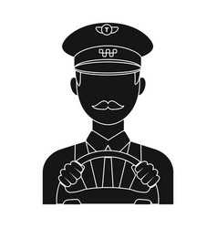 taxi driver wearing a cap man is driving a taxi vector image