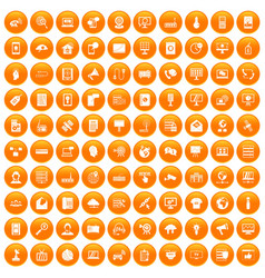 100 telecommunication icons set orange vector