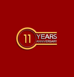 11 years anniversary golden and silver color vector