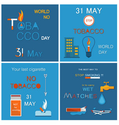 31 may world no tabacco day promo posters set vector