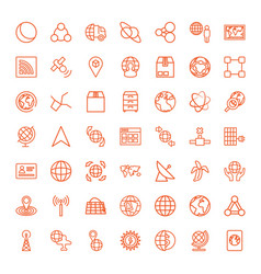 49 global icons vector image