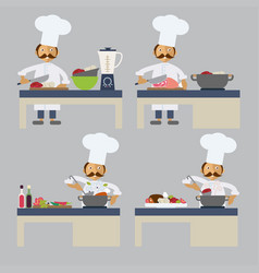 a chef cooking vector image
