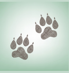Animal tracks sign brown flax icon on vector