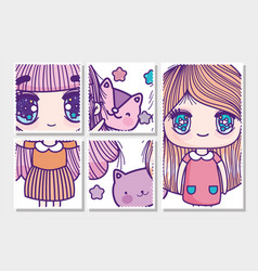 anime cute girls with cats heads cards vector image