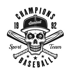 baseball black emblem with skull in cap vector image