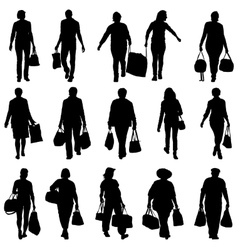 Black silhouettes mans and womans with bags vector image