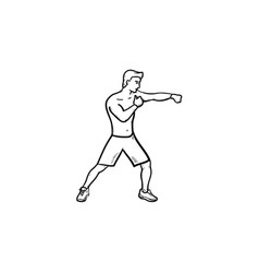 boxing man hand drawn outline doodle icon vector image