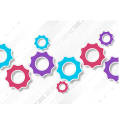 bright abstract tech gears mechanism background vector image