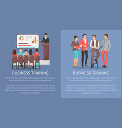 Business training posters set with leader workers vector