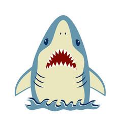 Card cute shark isolated on white animal vector