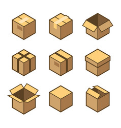 carton packaging box icons set on white background vector image