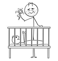 Cartoon dead tired father entertaining baby vector