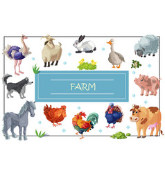 cartoon farm animals template vector image