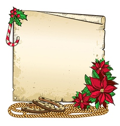christmas background with horseshoe and paper vector image