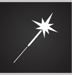 christmas sparkler icon on black background for vector image
