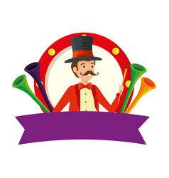 Circus magician with hat and trumpets in frame vector