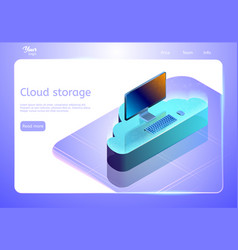 Cloud data storage concept web page template vector