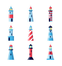 Colorful lighthouse icons set in flat style vector