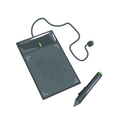 computer drawing tablet with pen artistic vector image