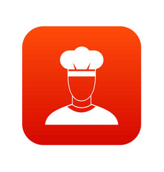 cook icon digital red vector image