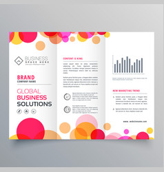 Creative circles tri fold brochure template vector