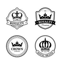 Crown logos set luxury corona monograms vector