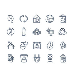 Ecology environment renewable sustainable icons vector