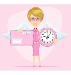 Female angel holding a pink watchs and envelope vector image
