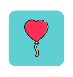 flat color love balloon icon vector image