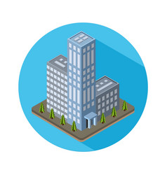 Flat isometric city real estate icon vector image