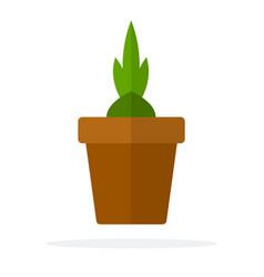 flower sprout in a ceramic pot flat isolated vector image