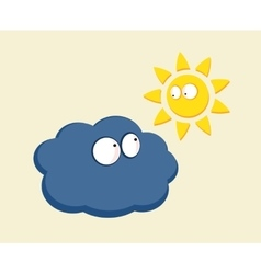 Funny cartoon sun and cloud looking vector