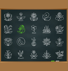 Garden chalk draw line icons set vector