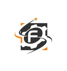 Gear solution logo letter f vector
