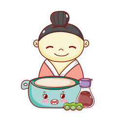 Geisha with bowl sake and peas kawaii food vector