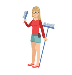 girl with brush and broom cartoon adult vector image