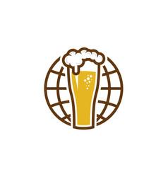 globe beer logo icon design vector image