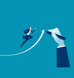hand drawn arrow helps businessman executives to vector image