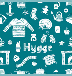 hand drawn seamless pattern with hygge elements vector image