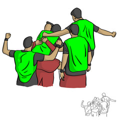 Happy male soccer player team after goal vector