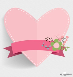 Heart paper with floral bouquets and ribbon vector image
