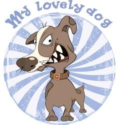 Hunting Dog Badge Cartoon vector image