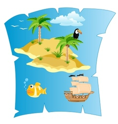 Island on card vector