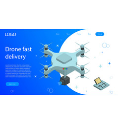 Isometric drone fast delivery dron flying with vector