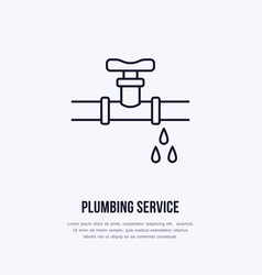 Leaking pipe flat logo line icon pipeline with vector