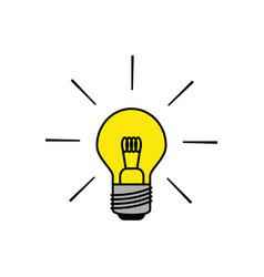 Light bulb icon in black outlines with flat colors vector
