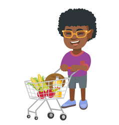 little african boy with his shopping trolley vector image