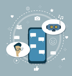 Man chatting with chatter bot modern chatbot robot vector